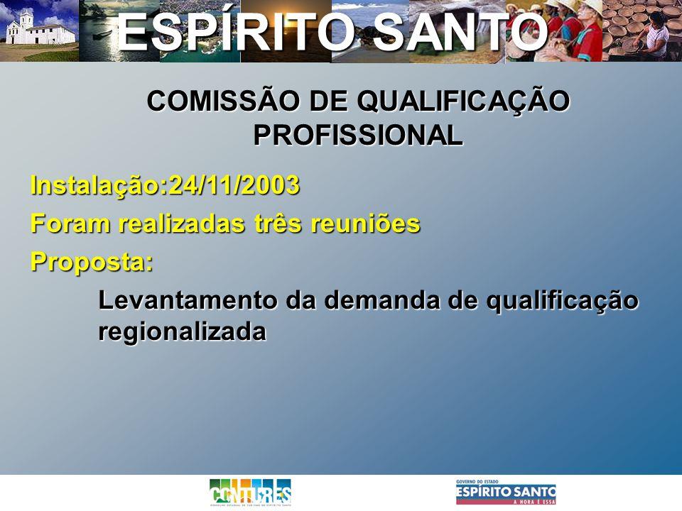 ESPÍRITO SANTO Instalação:24/11/2003 Foram realizadas três reuniões Proposta: Levantamento da demanda de qualificação regionalizada COMISSÃO DE QUALIF