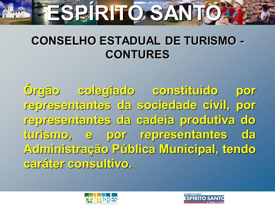 ESPÍRITO SANTO Órgão colegiado constituído por representantes da sociedade civil, por representantes da cadeia produtiva do turismo, e por representan