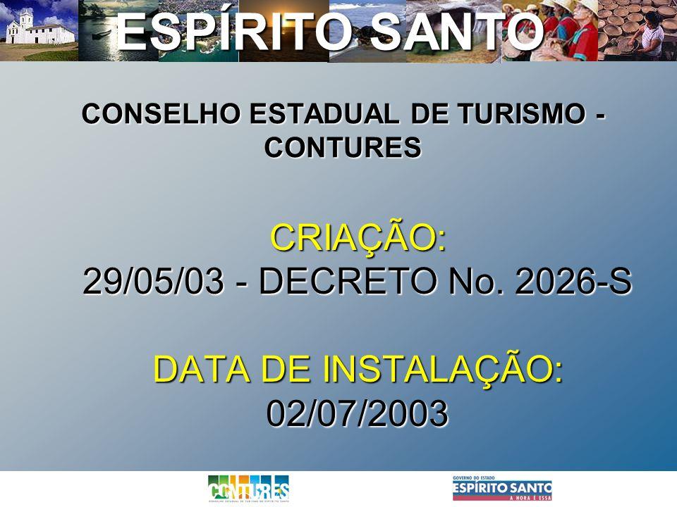 ESPÍRITO SANTO CONSELHO ESTADUAL DE TURISMO - CONTURES CRIAÇÃO: 29/05/03 - DECRETO No. 2026-S DATA DE INSTALAÇÃO: 02/07/2003