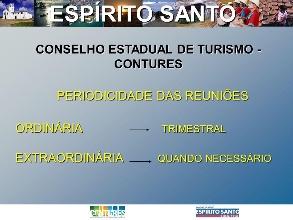 ESPÍRITO SANTO PERIODICIDADE DAS REUNIÕES ORDINÁRIA TRIMESTRAL EXTRAORDINÁRIA QUANDO NECESSÁRIO CONSELHO ESTADUAL DE TURISMO - CONTURES