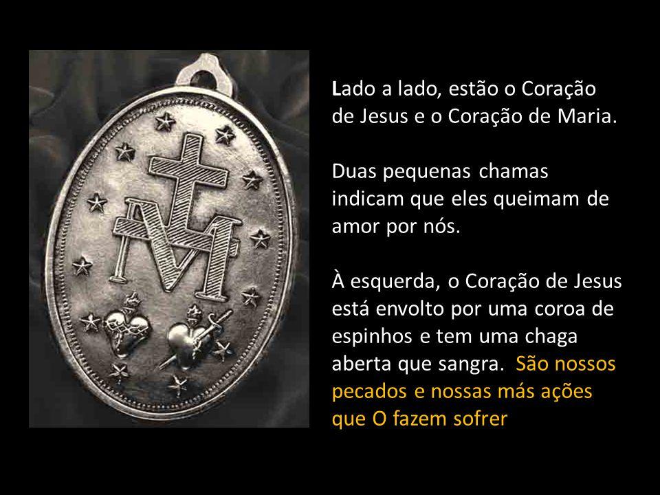 O grande M tendo sobre si uma cruz, é a inicial do nome de Maria.