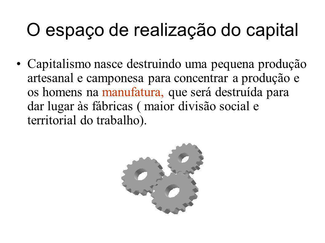 O espaço de realização do capital Capitalismo nasce destruindo uma pequena produção artesanal e camponesa para concentrar a produção e os homens na ma
