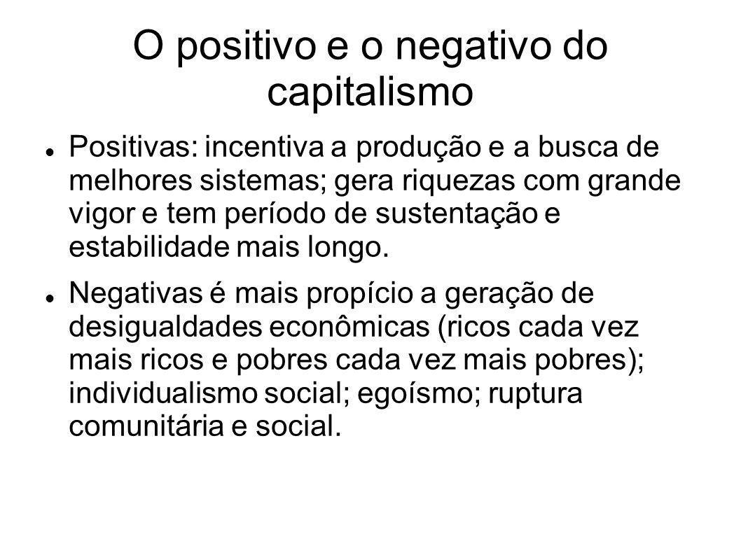 O positivo e o negativo do capitalismo Positivas: incentiva a produção e a busca de melhores sistemas; gera riquezas com grande vigor e tem período de