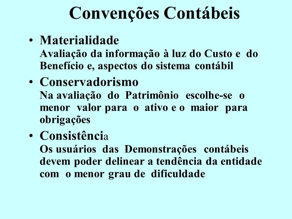 Convenções Contábeis Objetividade 1) Procedimentos comprovados por documentos e critérios objetivos 2) Atestados por pessoas qualificadas da profissão