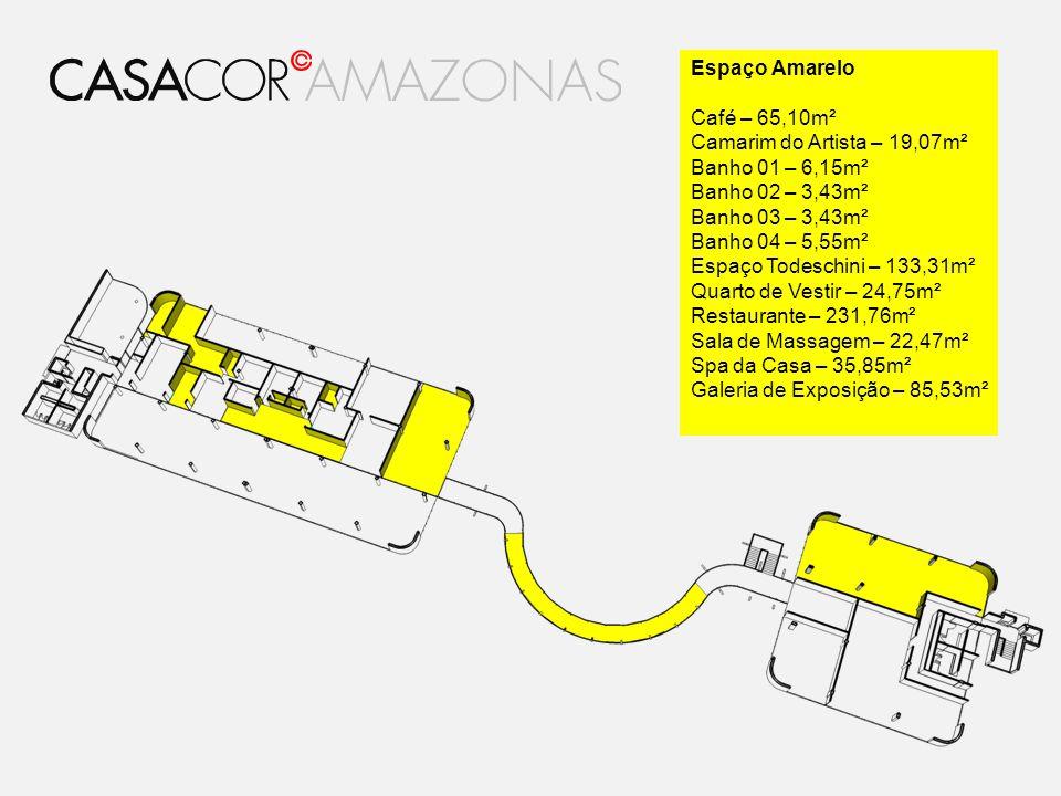 Espaço Amarelo Café – 65,10m² Camarim do Artista – 19,07m² Banho 01 – 6,15m² Banho 02 – 3,43m² Banho 03 – 3,43m² Banho 04 – 5,55m² Espaço Todeschini –