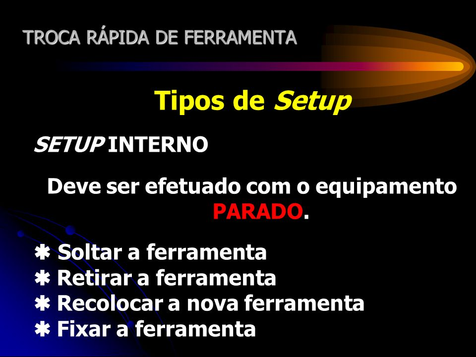 TROCA RÁPIDA DE FERRAMENTA Tipos de Setup SETUP EXTERNO Pode ser feito com o equipamento LIGADO.