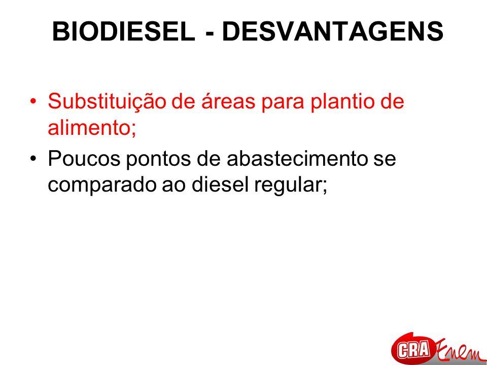 BIODIESEL - DESVANTAGENS Substituição de áreas para plantio de alimento; Poucos pontos de abastecimento se comparado ao diesel regular;