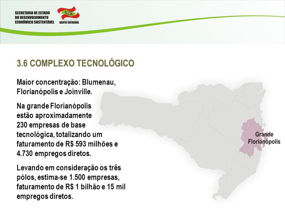 3.6 COMPLEXO TECNOLÓGICO Maior concentração: Blumenau, Florianópolis e Joinville.