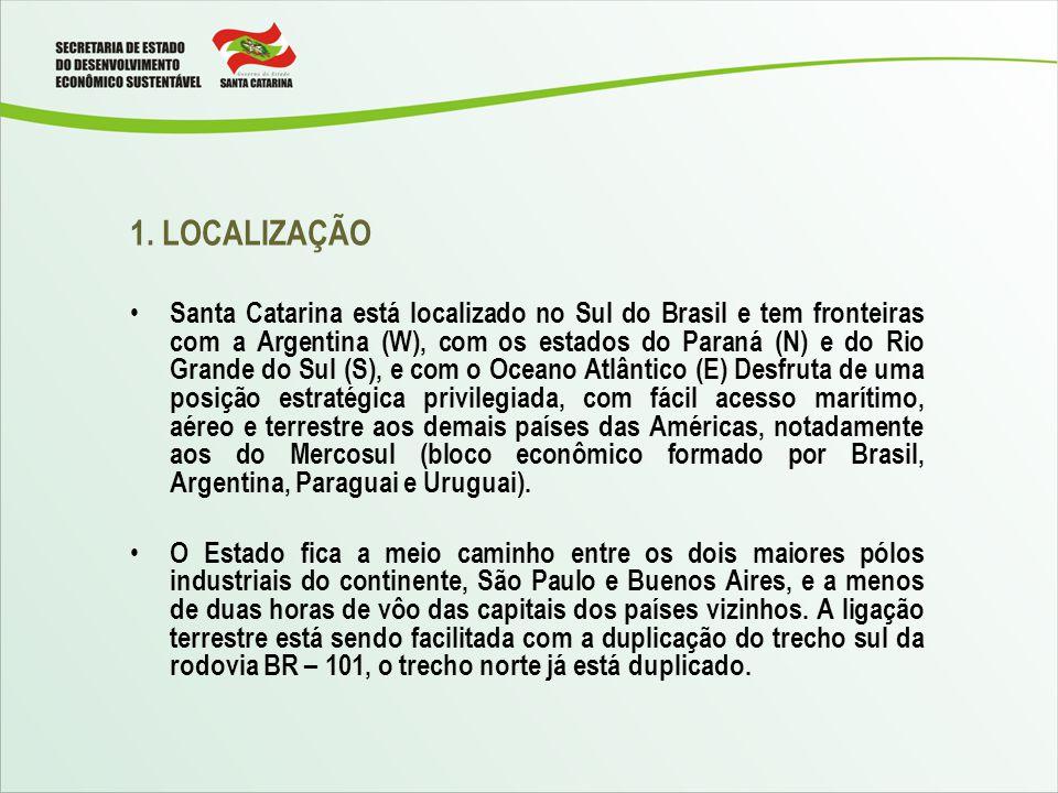1. LOCALIZAÇÃO Santa Catarina está localizado no Sul do Brasil e tem fronteiras com a Argentina (W), com os estados do Paraná (N) e do Rio Grande do S
