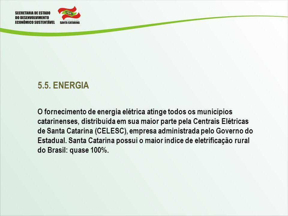 5.5. ENERGIA O fornecimento de energia elétrica atinge todos os municípios catarinenses, distribuída em sua maior parte pela Centrais Elétricas de San