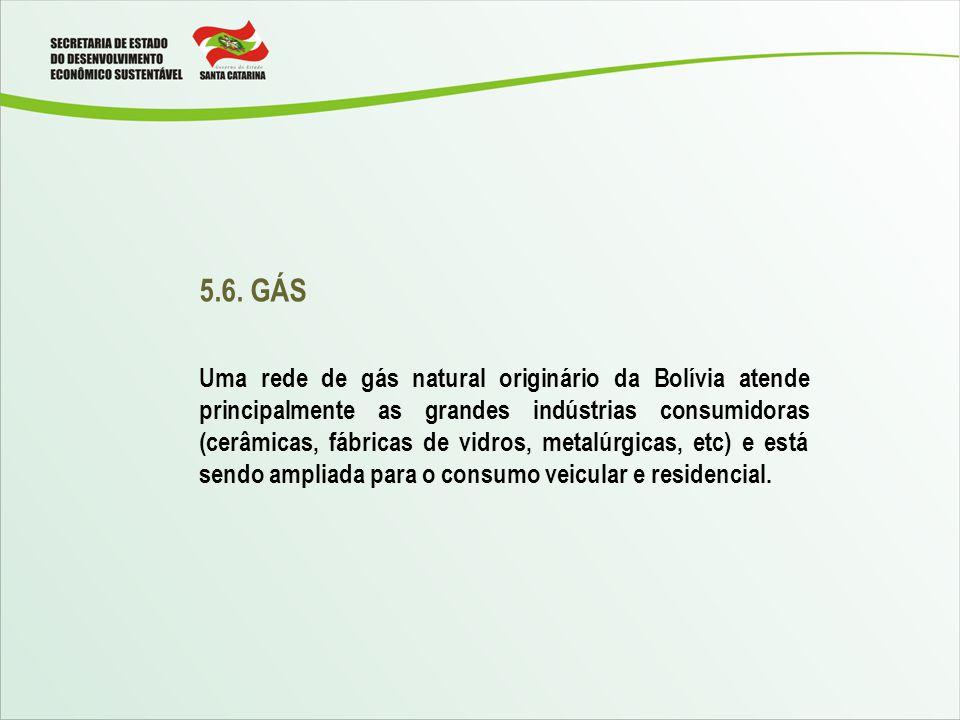 5.6. GÁS Uma rede de gás natural originário da Bolívia atende principalmente as grandes indústrias consumidoras (cerâmicas, fábricas de vidros, metalú