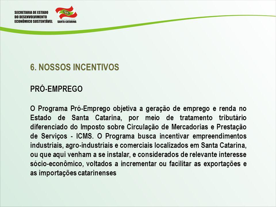 6. NOSSOS INCENTIVOS PRÓ-EMPREGO O Programa Pró-Emprego objetiva a geração de emprego e renda no Estado de Santa Catarina, por meio de tratamento trib