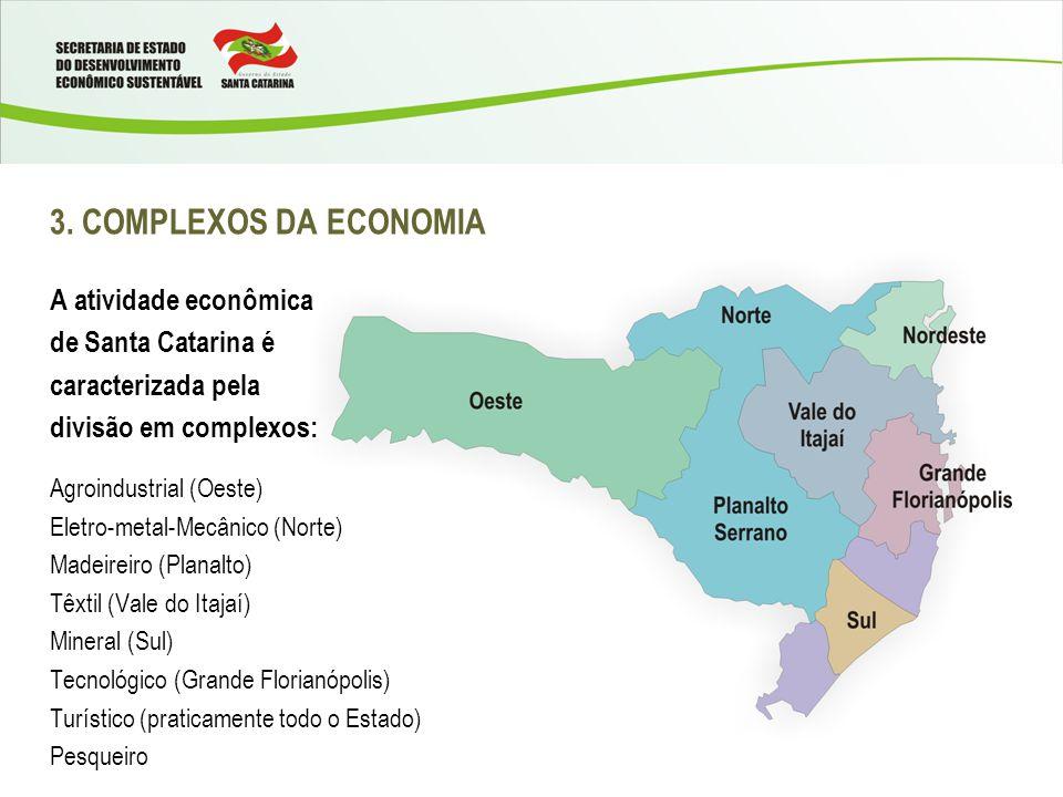 3. COMPLEXOS DA ECONOMIA A atividade econômica de Santa Catarina é caracterizada pela divisão em complexos: Agroindustrial (Oeste) Eletro-metal-Mecâni