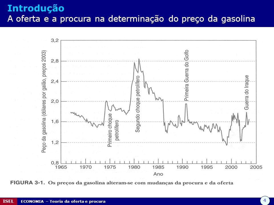 4 ISEL ECONOMIA – Teoria da oferta e procura Introdução A oferta e a procura na determinação do preço da gasolina