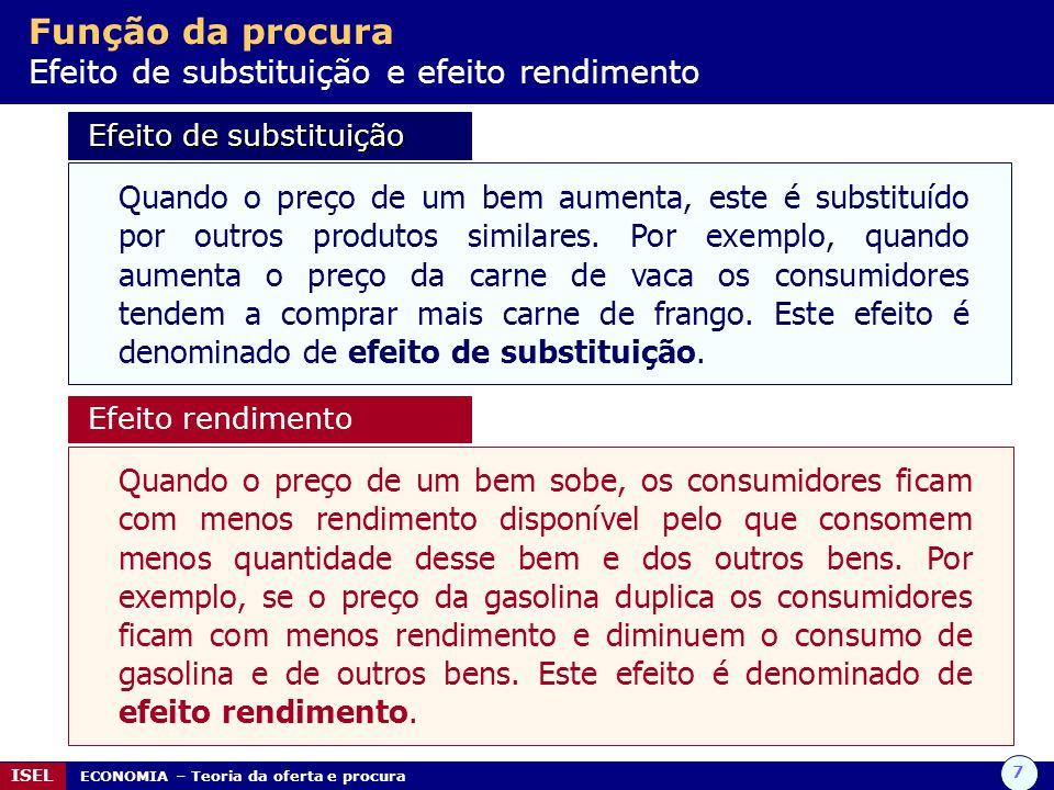 7 ISEL ECONOMIA – Teoria da oferta e procura Função da procura Efeito de substituição e efeito rendimento Efeito de substituição Efeito de substituição Quando o preço de um bem aumenta, este é substituído por outros produtos similares.