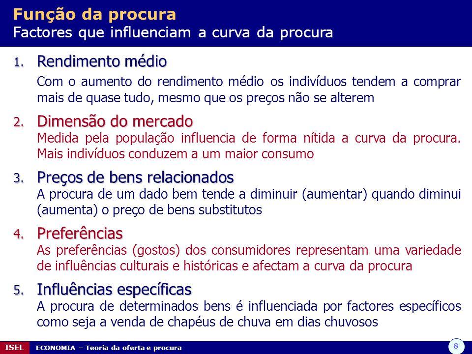 8 ISEL ECONOMIA – Teoria da oferta e procura Função da procura Factores que influenciam a curva da procura 1. Rendimento médio Com o aumento do rendim