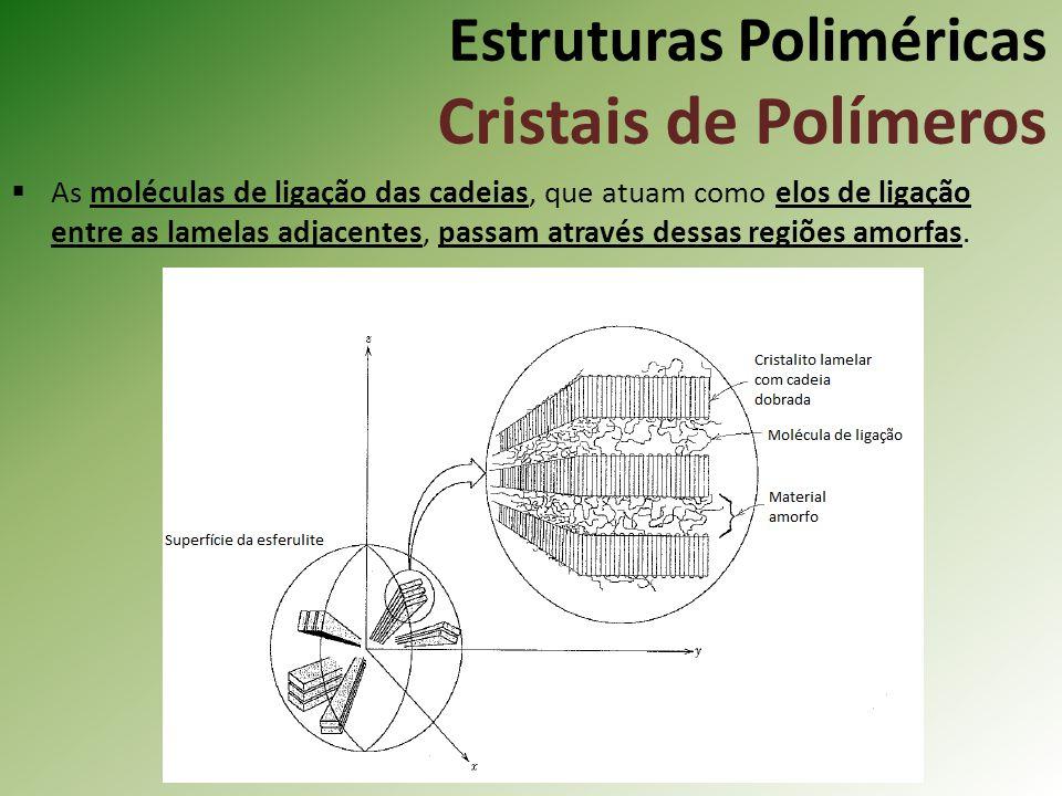 Estruturas Poliméricas Cristais de Polímeros As moléculas de ligação das cadeias, que atuam como elos de ligação entre as lamelas adjacentes, passam a