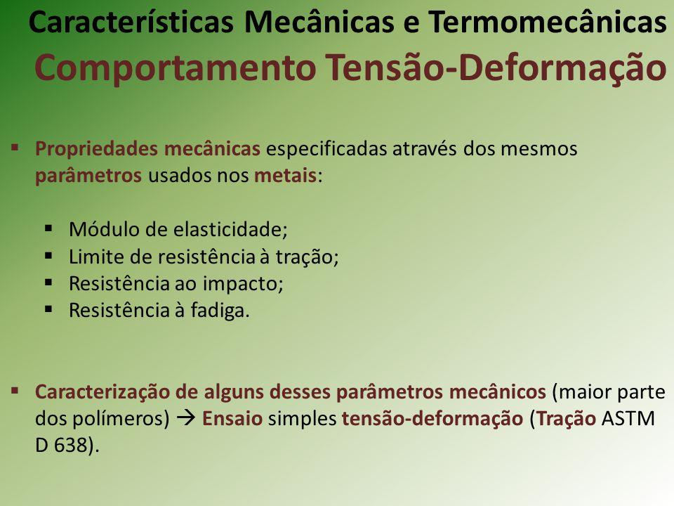 Características Mecânicas e Termomecânicas Comportamento Tensão-Deformação Propriedades mecânicas especificadas através dos mesmos parâmetros usados n
