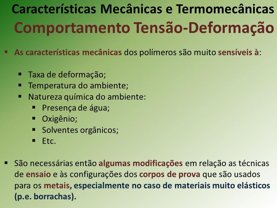 Características Mecânicas e Termomecânicas Comportamento Tensão-Deformação As características mecânicas dos polímeros são muito sensíveis à: Taxa de d