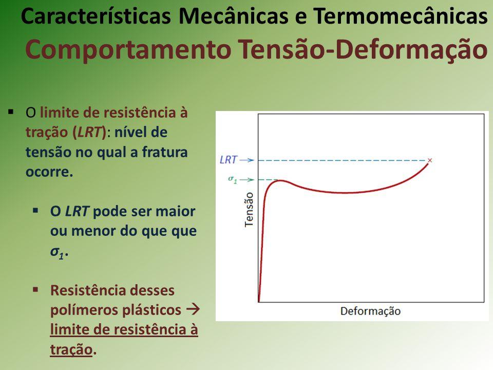 Características Mecânicas e Termomecânicas Comportamento Tensão-Deformação O limite de resistência à tração (LRT): nível de tensão no qual a fratura o