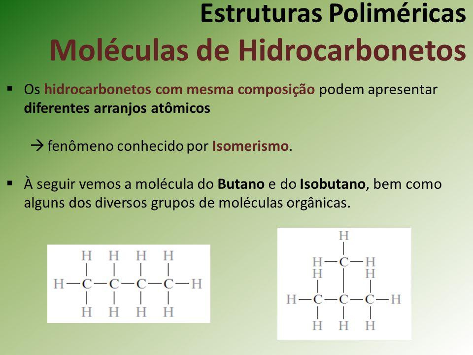 Estruturas Poliméricas Moléculas de Hidrocarbonetos Os hidrocarbonetos com mesma composição podem apresentar diferentes arranjos atômicos fenômeno con