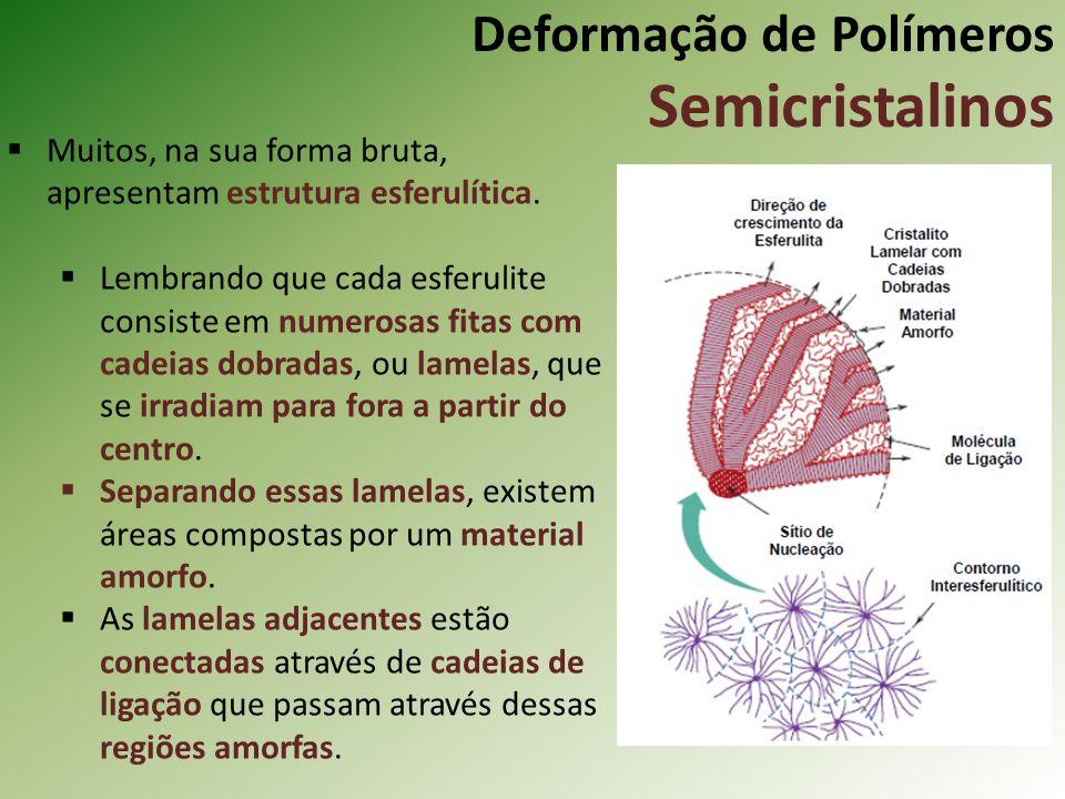 Deformação de Polímeros Semicristalinos Muitos, na sua forma bruta, apresentam estrutura esferulítica. Lembrando que cada esferulite consiste em numer