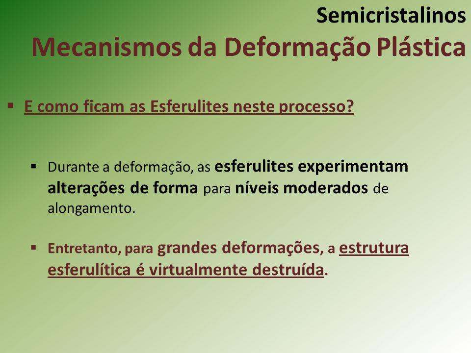 Semicristalinos Mecanismos da Deformação Plástica E como ficam as Esferulites neste processo? Durante a deformação, as esferulites experimentam altera