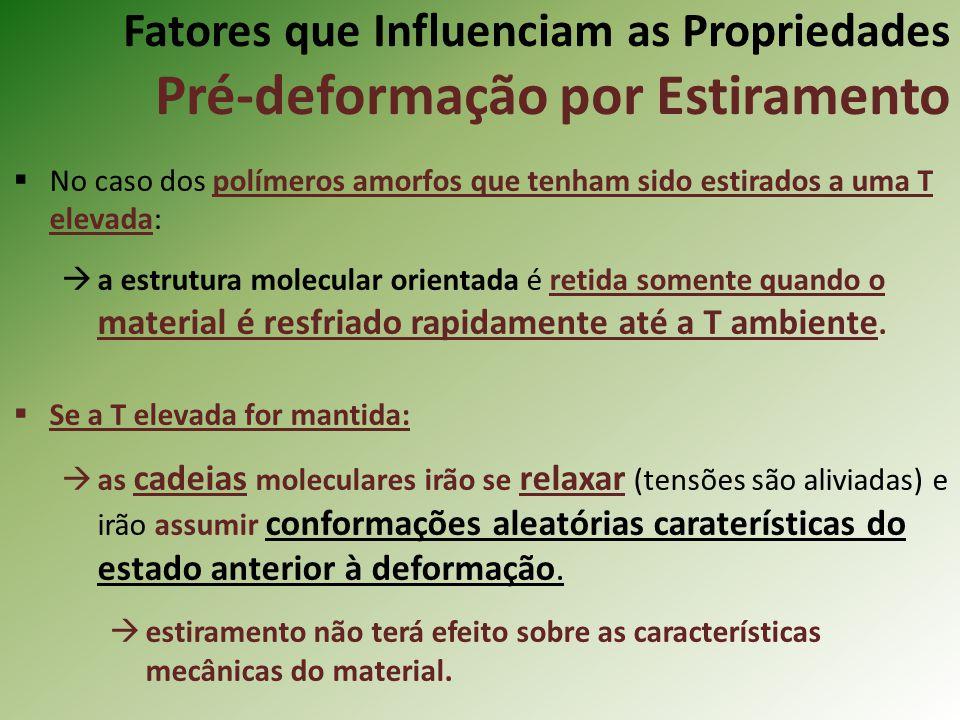 Fatores que Influenciam as Propriedades Pré-deformação por Estiramento No caso dos polímeros amorfos que tenham sido estirados a uma T elevada: a estr