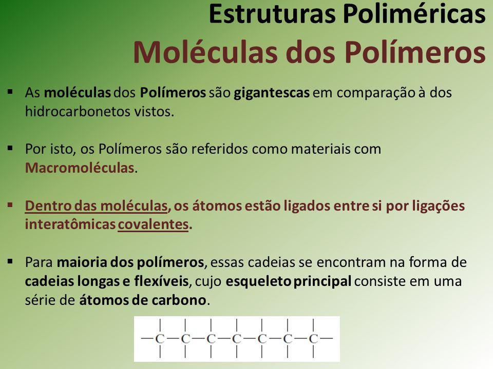 Estruturas Poliméricas Moléculas dos Polímeros As moléculas dos Polímeros são gigantescas em comparação à dos hidrocarbonetos vistos. Por isto, os Pol