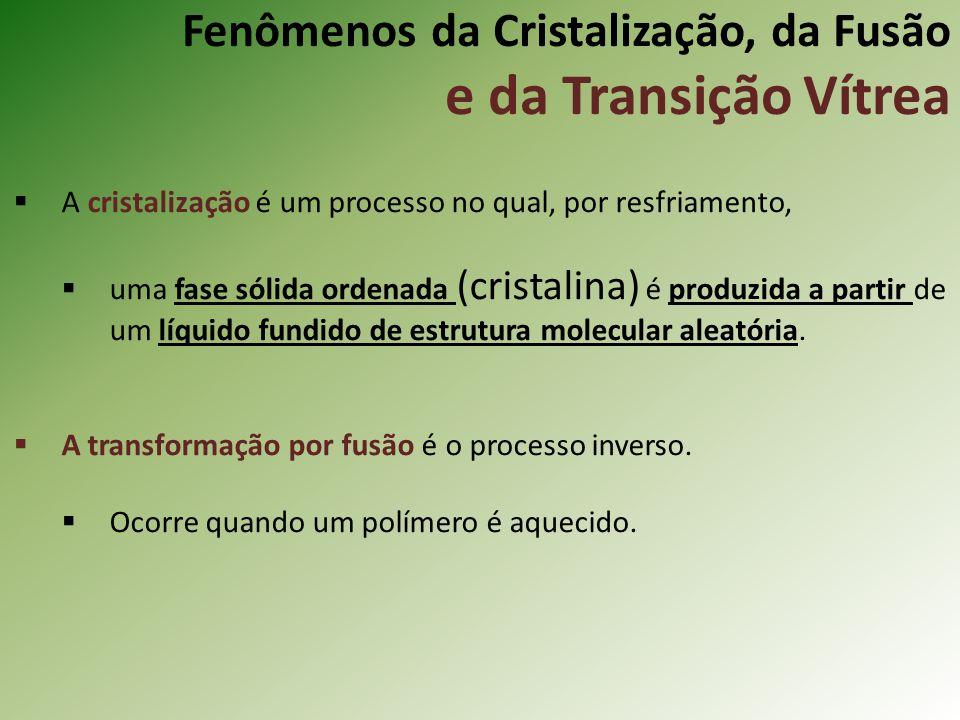 Fenômenos da Cristalização, da Fusão e da Transição Vítrea A cristalização é um processo no qual, por resfriamento, uma fase sólida ordenada (cristali