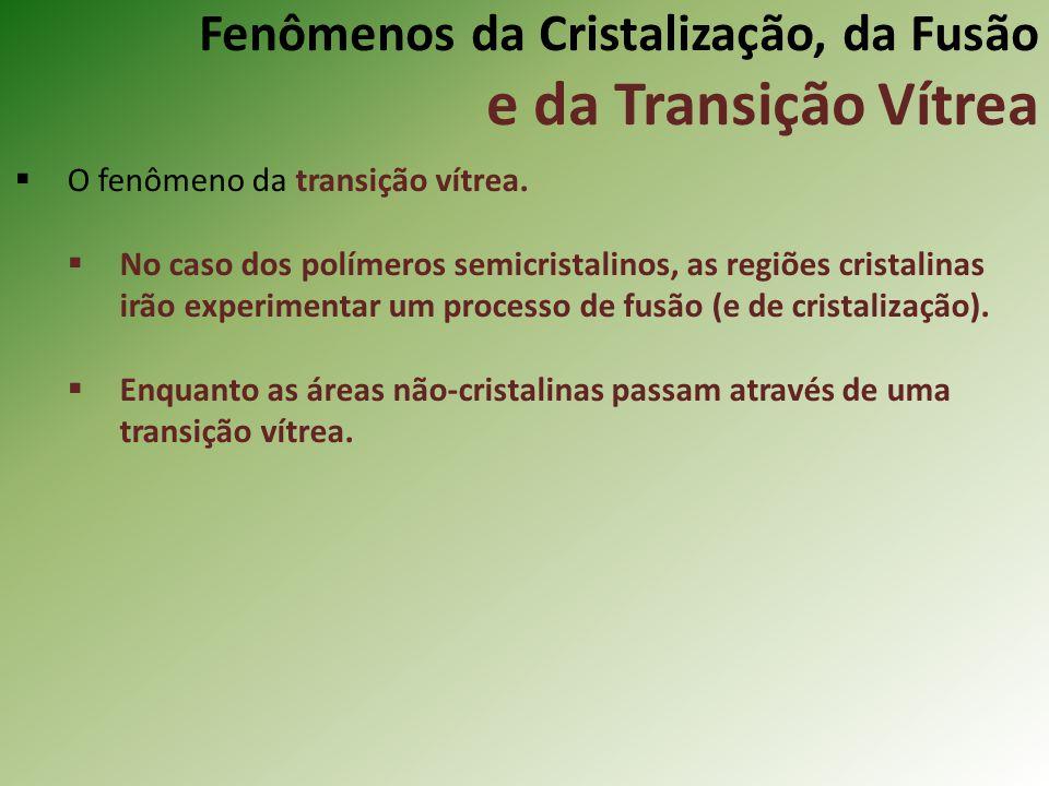 Fenômenos da Cristalização, da Fusão e da Transição Vítrea O fenômeno da transição vítrea. No caso dos polímeros semicristalinos, as regiões cristalin