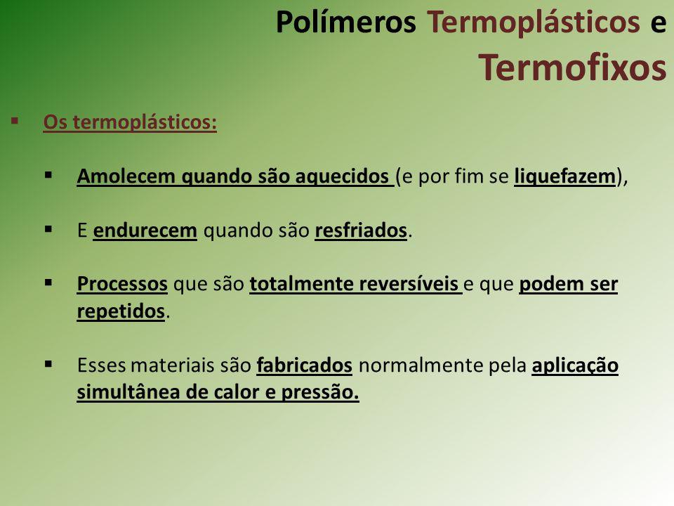 Polímeros Termoplásticos e Termofixos Os termoplásticos: Amolecem quando são aquecidos (e por fim se liquefazem), E endurecem quando são resfriados. P