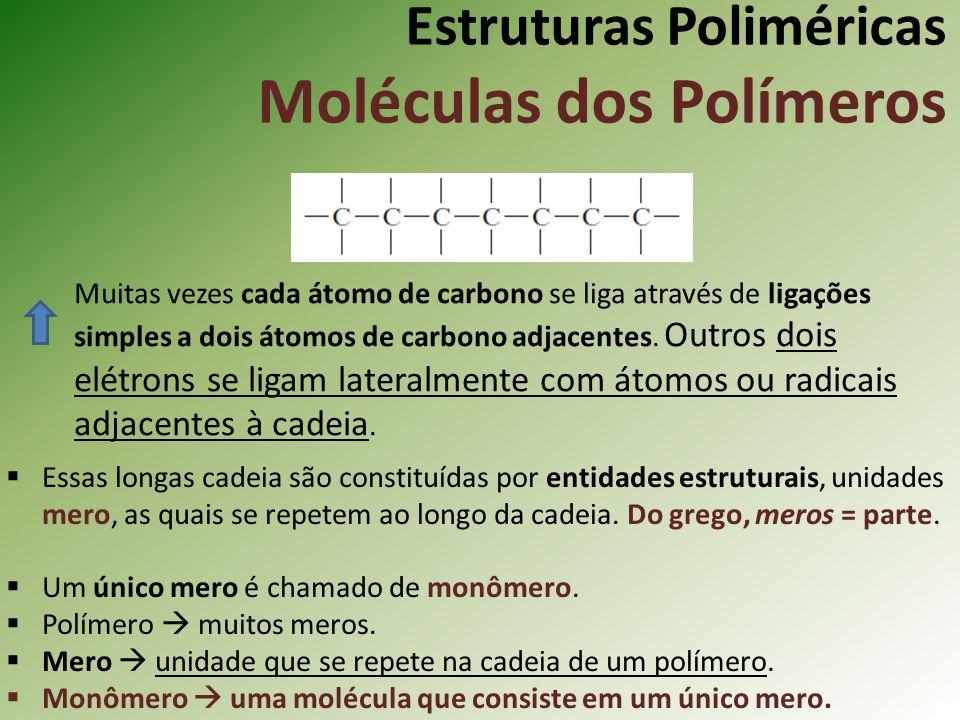 Estruturas Poliméricas Moléculas dos Polímeros Muitas vezes cada átomo de carbono se liga através de ligações simples a dois átomos de carbono adjacen