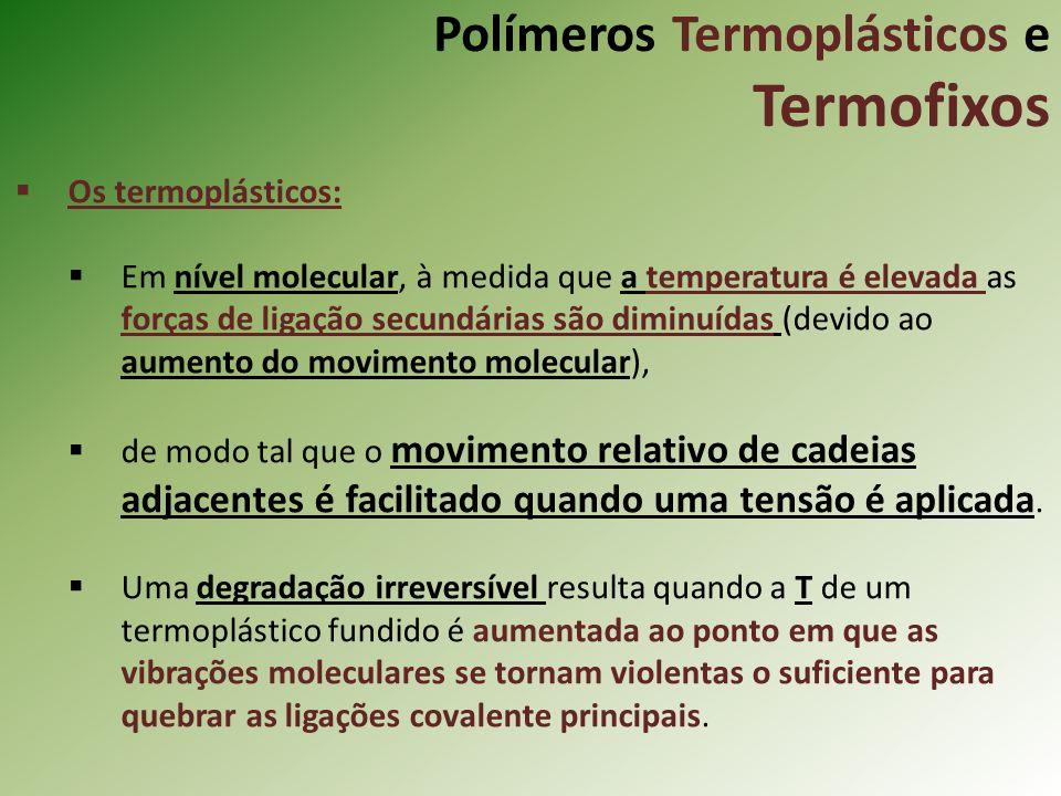 Polímeros Termoplásticos e Termofixos Os termoplásticos: Em nível molecular, à medida que a temperatura é elevada as forças de ligação secundárias são