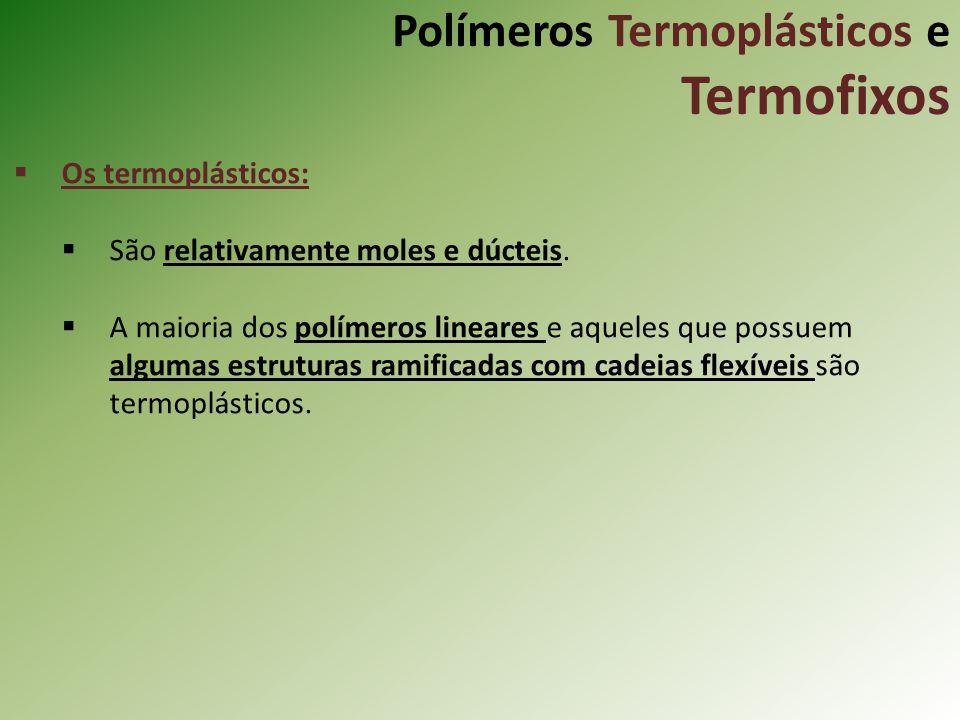 Polímeros Termoplásticos e Termofixos Os termoplásticos: São relativamente moles e dúcteis. A maioria dos polímeros lineares e aqueles que possuem alg
