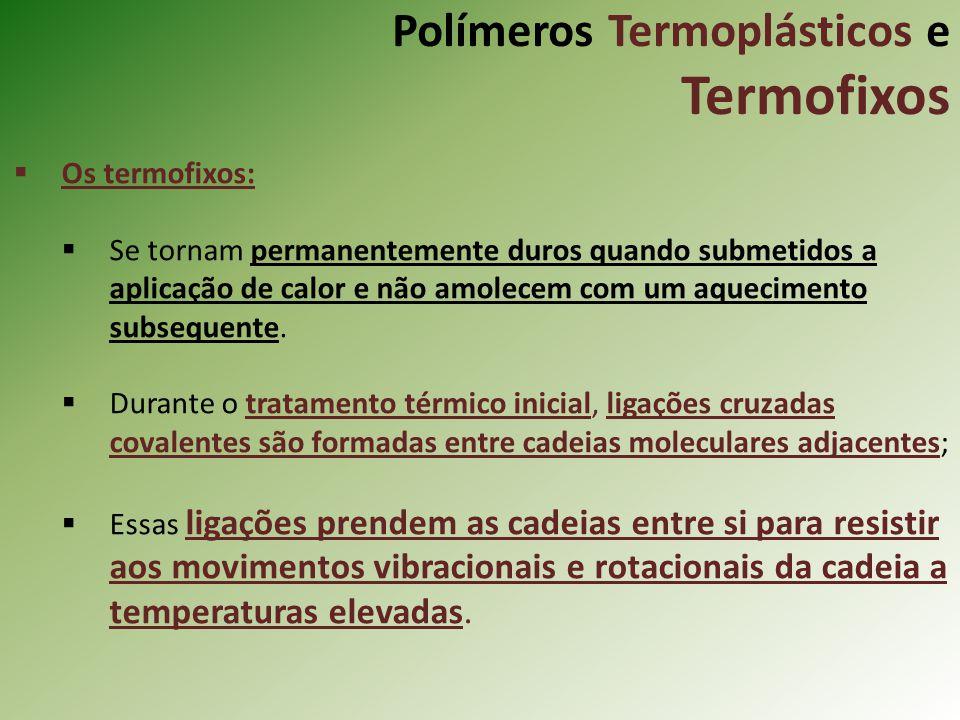 Polímeros Termoplásticos e Termofixos Os termofixos: Se tornam permanentemente duros quando submetidos a aplicação de calor e não amolecem com um aque