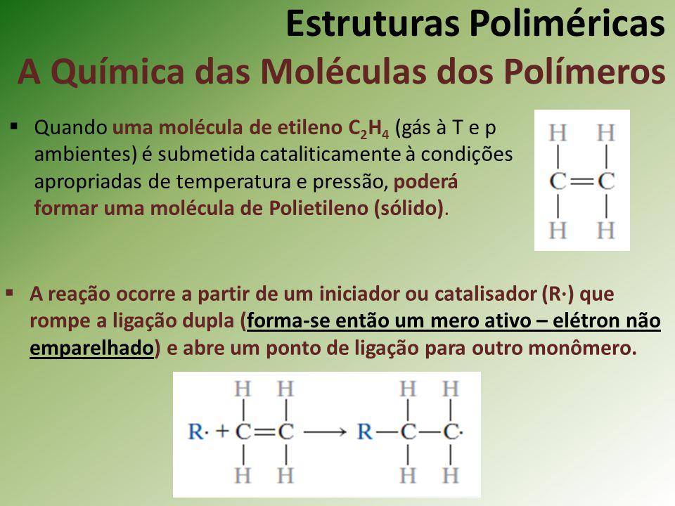 Estruturas Poliméricas A Química das Moléculas dos Polímeros Quando uma molécula de etileno C 2 H 4 (gás à T e p ambientes) é submetida cataliticament