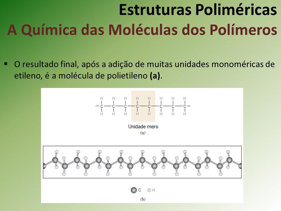 Estruturas Poliméricas A Química das Moléculas dos Polímeros O resultado final, após a adição de muitas unidades monoméricas de etileno, é a molécula