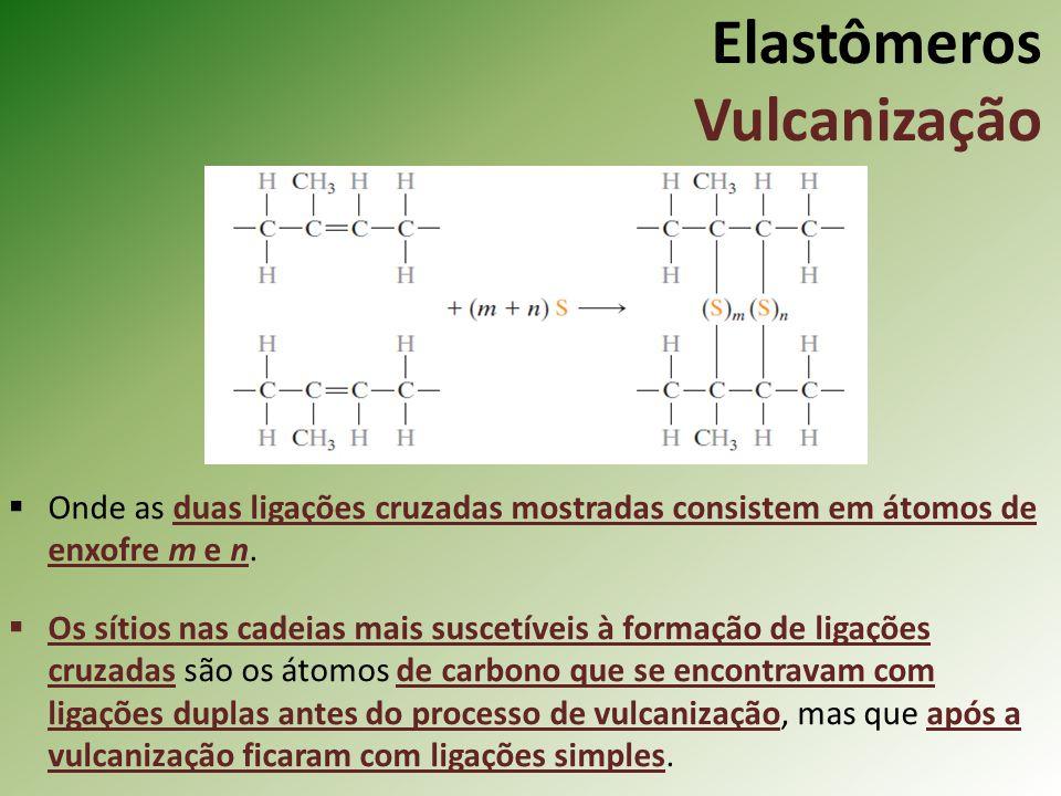Elastômeros Vulcanização Onde as duas ligações cruzadas mostradas consistem em átomos de enxofre m e n. Os sítios nas cadeias mais suscetíveis à forma