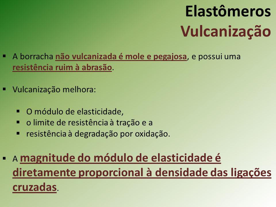 Elastômeros Vulcanização A borracha não vulcanizada é mole e pegajosa, e possui uma resistência ruim à abrasão. Vulcanização melhora: O módulo de elas