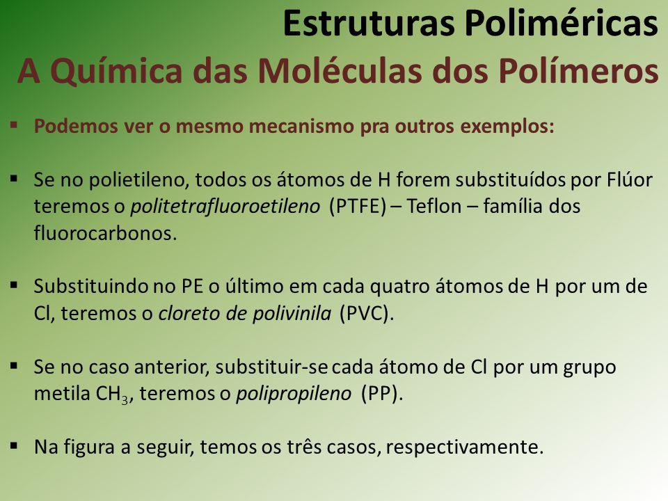 Estruturas Poliméricas A Química das Moléculas dos Polímeros Podemos ver o mesmo mecanismo pra outros exemplos: Se no polietileno, todos os átomos de