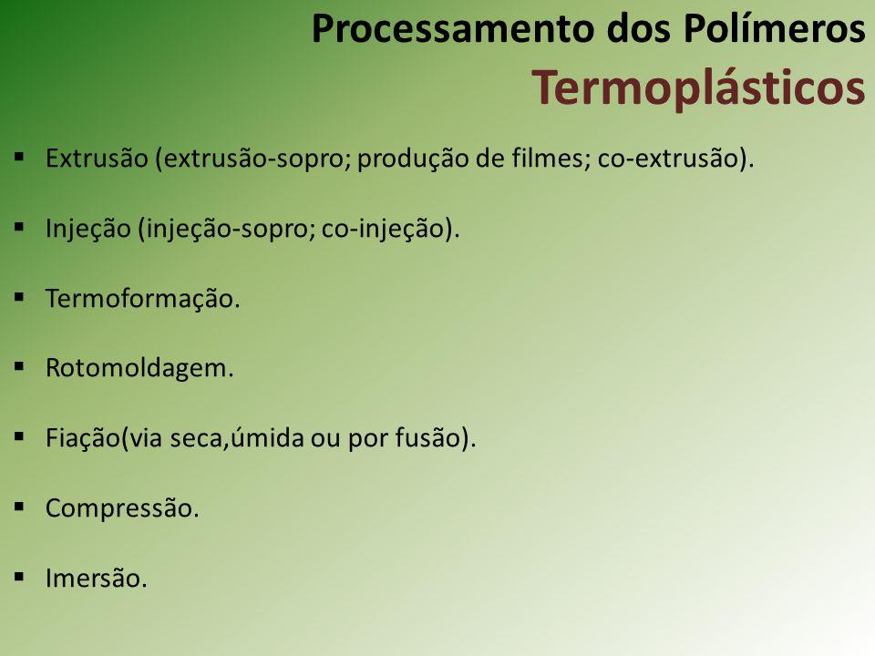 Processamento dos Polímeros Termoplásticos Extrusão (extrusão-sopro; produção de filmes; co-extrusão). Injeção (injeção-sopro; co-injeção). Termoforma