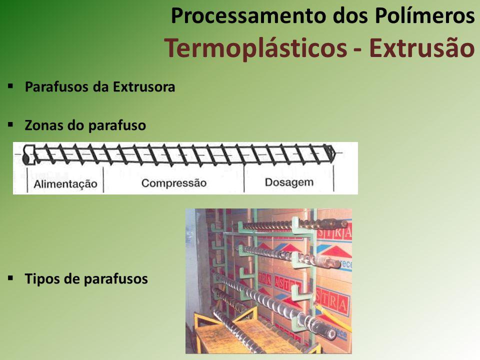 Processamento dos Polímeros Termoplásticos - Extrusão Parafusos da Extrusora Zonas do parafuso Tipos de parafusos