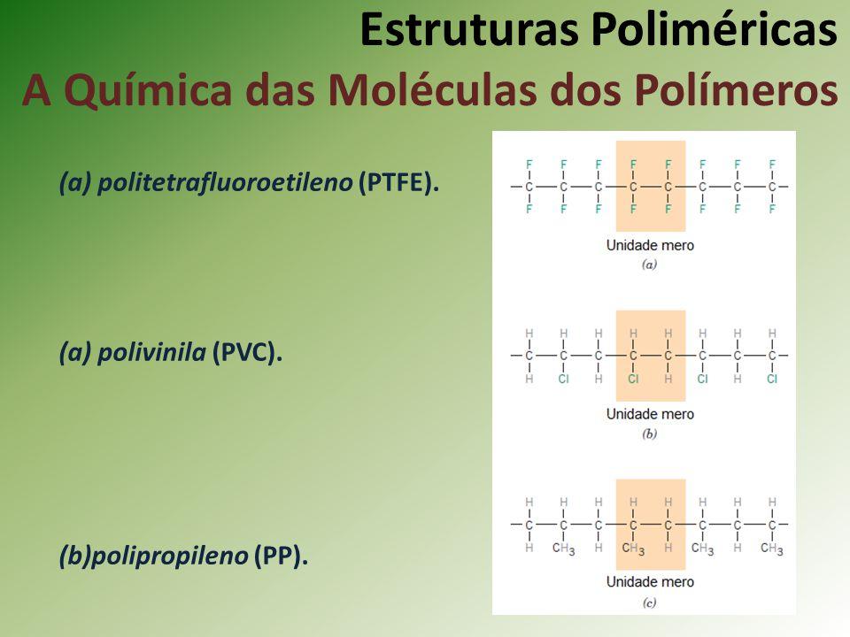 Estruturas Poliméricas A Química das Moléculas dos Polímeros (a) politetrafluoroetileno (PTFE). (a) polivinila (PVC). (b)polipropileno (PP).