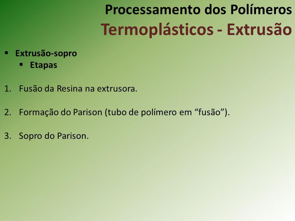 Processamento dos Polímeros Termoplásticos - Extrusão Extrusão-sopro Etapas 1.Fusão da Resina na extrusora. 2.Formação do Parison (tubo de polímero em