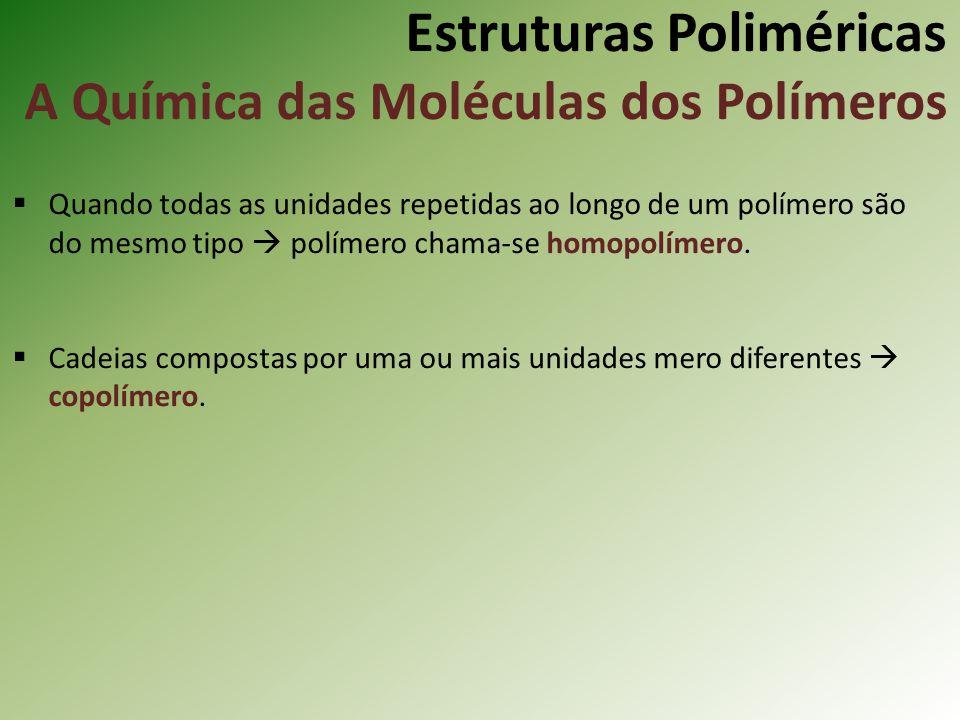 Estruturas Poliméricas A Química das Moléculas dos Polímeros Quando todas as unidades repetidas ao longo de um polímero são do mesmo tipo polímero cha