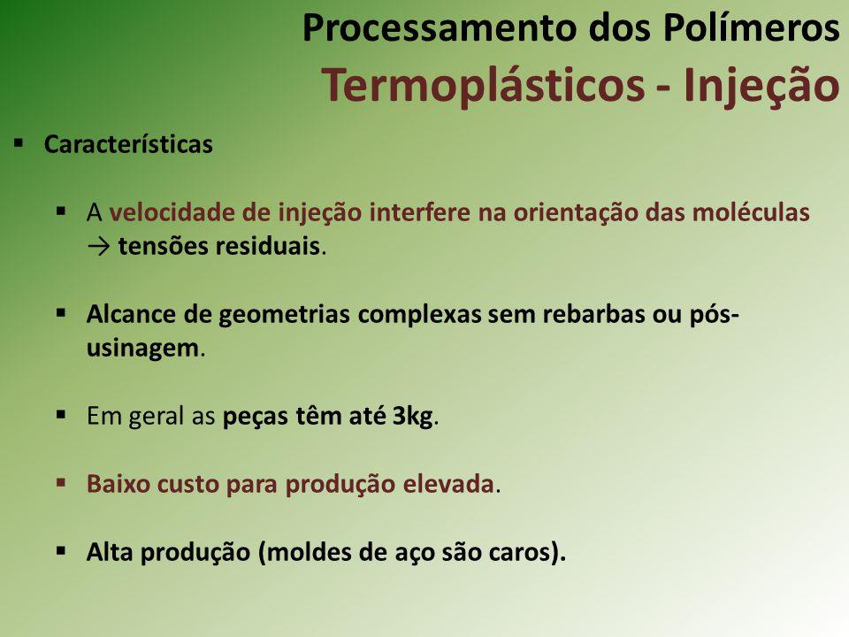 Processamento dos Polímeros Termoplásticos - Injeção Características A velocidade de injeção interfere na orientação das moléculas tensões residuais.