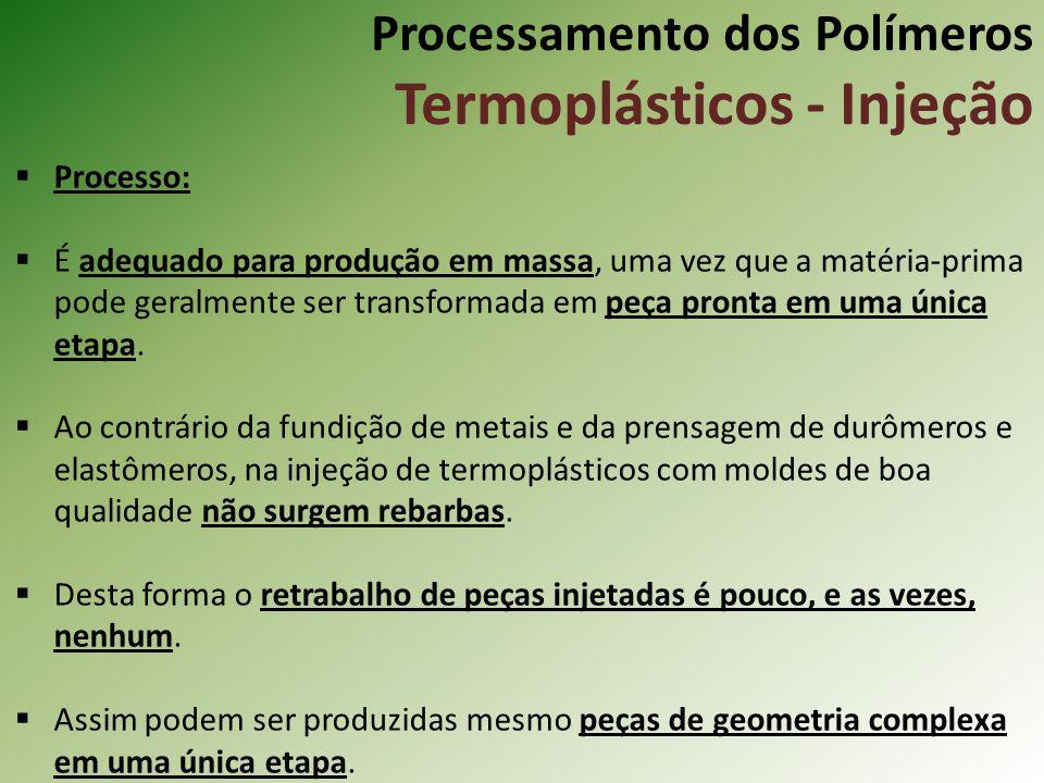 Processamento dos Polímeros Termoplásticos - Injeção Processo: É adequado para produção em massa, uma vez que a matéria-prima pode geralmente ser tran