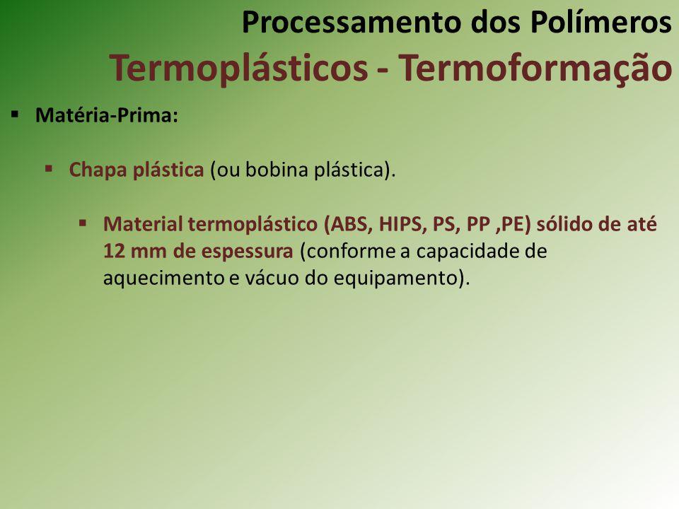 Processamento dos Polímeros Termoplásticos - Termoformação Matéria-Prima: Chapa plástica (ou bobina plástica). Material termoplástico (ABS, HIPS, PS,