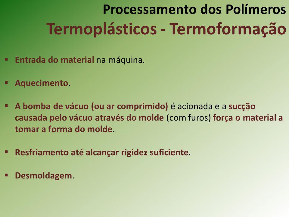 Processamento dos Polímeros Termoplásticos - Termoformação Entrada do material na máquina. Aquecimento. A bomba de vácuo (ou ar comprimido) é acionada